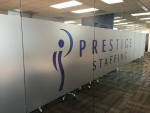 Prestige Staffing Frosted Window Graphics 300x225 Window Film